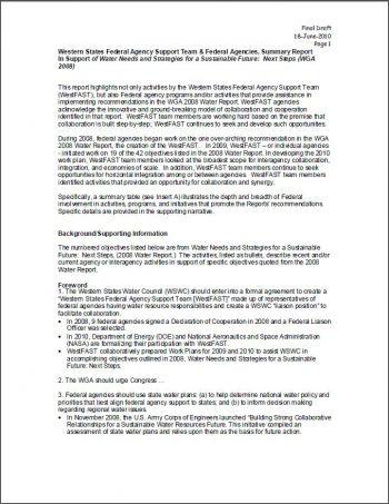 WestFAST and Federal Agencies Summary