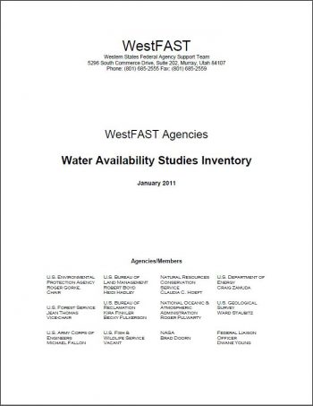WestFAST Agencies Water Availability Studies Inventory